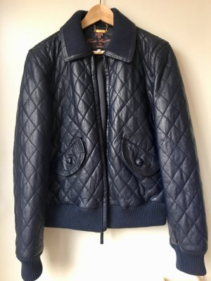 Apart Echte Lederjacke Steppjacke Blau Bomberjacke Authentic Leather Jacket