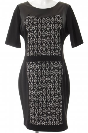 Apart Etuikleid weiß-schwarz abstraktes Muster Elegant