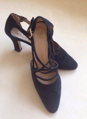 APART High Heels Pumps mit goldene Schnalle Damenschuhe schwarz Leder Gr. 39