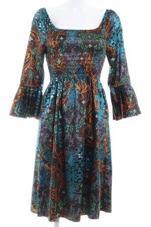 Apart Hippiekleid neonblau-dunkelbraun abstraktes Muster extravaganter Stil