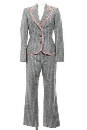Apart Tailleur pantalone grigio scuro-rosa pallido motivo a righe