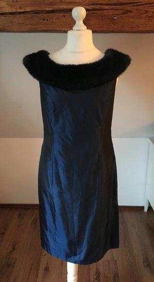 Apart kleid 42 Dunkelblau Kunstfell Fellkragen L 44 Abendkleid abschlusskleid