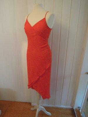APART Kleid Abendkleid Sommerkleid Cocktailkleid asymmetrisch Spaghettiträger Gr. 36 orange Animal Print Sommer Abiball