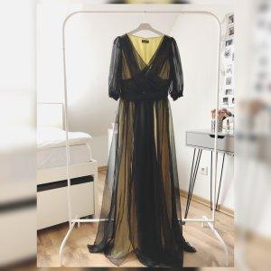 Apart  glamour Vestido de chifón negro-amarillo claro