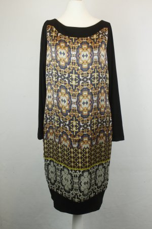Apart Kleid Etuikleid Gr. 34 schwarz gelb gold Muster langarm