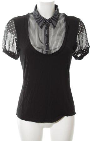 Apart Blouse à manches courtes noir Mélange de motifs style décontracté