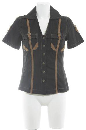 Apart Short Sleeve Shirt black-camel country style