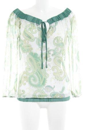 Apart Blouse à manches longues vert-crème motif embelli style décontracté