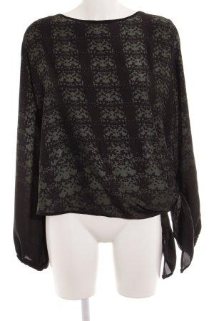 Apart Langarm-Bluse schwarz-dunkelgrün florales Muster Elegant