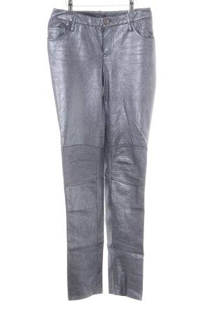 Apart Pantalon en cuir argenté style extravagant