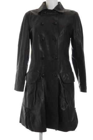 Apart Ledermantel schwarz klassischer Stil