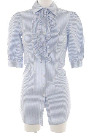 Apart Blusa larga azul celeste-blanco Patrón de estrellas elegante