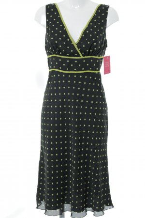 Apart Midikleid schwarz-grasgrün Punktemuster Elegant