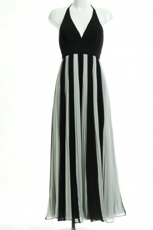 Apart Vestido de cuello Halter negro-blanco estampado a rayas look casual