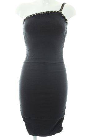Apart One-Shoulder-Kleid schwarz-goldfarben 90ies-Stil