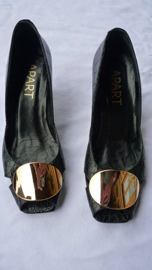 Apart Peep Toe Pumps black-gold-colored leather