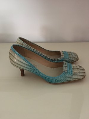 Apart High Heels oatmeal-turquoise leather