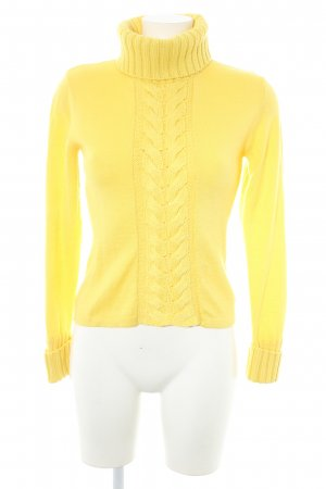 Apart Turtleneck Sweater yellow cable stitch casual look