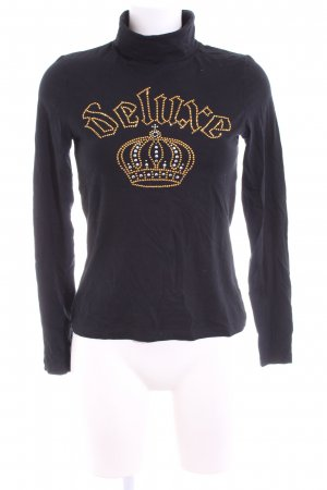 Apart Turtleneck Shirt black-gold-colored printed lettering casual look