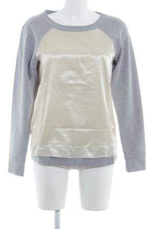 Apart Maglione girocollo grigio-crema stile  materiale misto