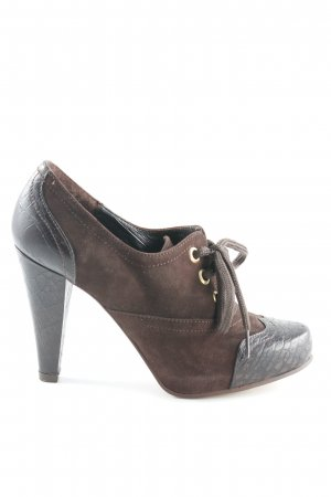 Apart Lace-up Booties dark brown-gold-colored animal print
