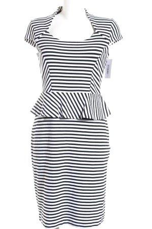 Apart Schößchenkleid weiß-schwarz Streifenmuster Business-Look