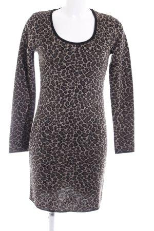 Apart Gebreide jurk beige-zwart luipaardprint dierenprint