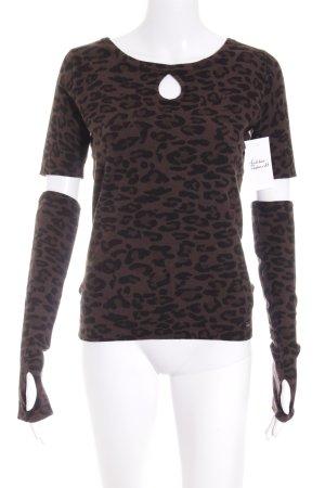Apart Strickshirt schwarz-dunkelbraun Leomuster extravaganter Stil