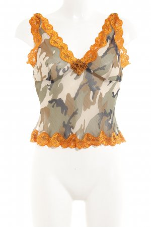 Apart Transparante blouse camouflageprint extravagante stijl