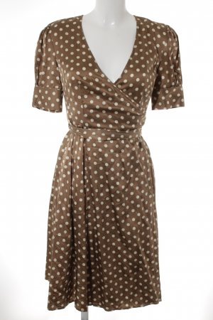 Apart Wickelkleid bronzefarben-weiß Punktemuster Casual-Look