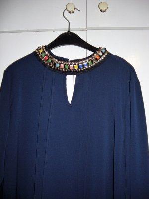 Aparte blaue Bluse miit Strass/bunten Steine am Kragen Gr  38/40