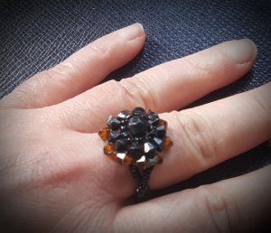 Statement Ring black brown-brown synthetic material