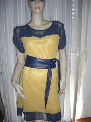 Apartes Design Chic das Gelb/Blaue Sommerkleid  Gr 36/ 38