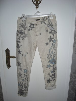 Boyfriend Trousers light blue-white cotton