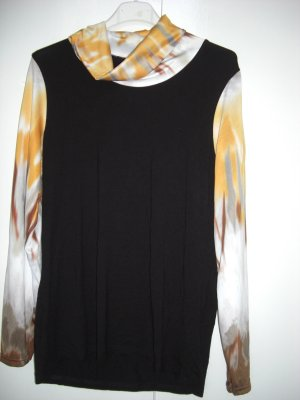 Turtleneck Shirt yellow-black viscose