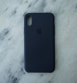 Apple iPhone X Silikon-Case dunkelblau