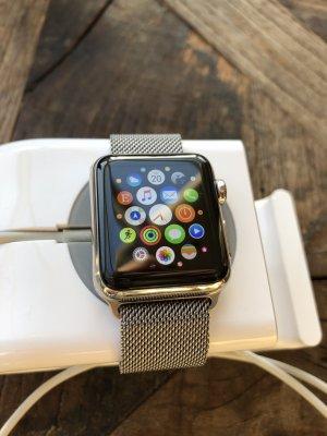 Apple of eden Reloj negro-color plata acero inoxidable