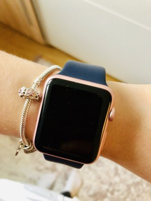 Apple Watch S1 42mm Roségold blau sportarmband