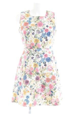 Apricot A-Linien Kleid Blumenmuster Bänderverzierung