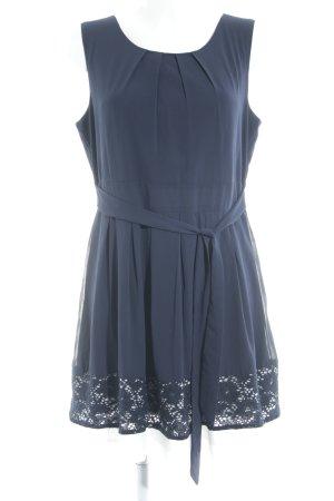 Apricot A-Linien Kleid dunkelblau-weiß Blumenmuster Romantik-Look