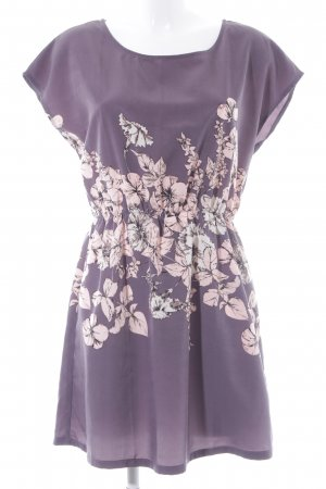 Apricot A-Linien Kleid graulila-taupe florales Muster Business-Look