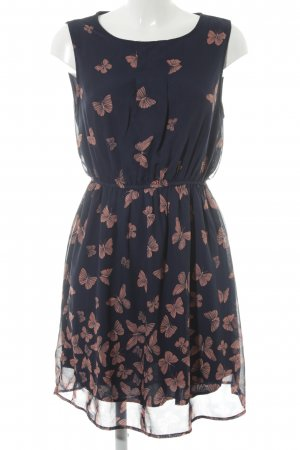 Apricot Chiffonkleid dunkelblau Romantik-Look
