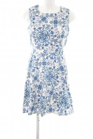 Apricot Etuikleid weiß-blau florales Muster Elegant