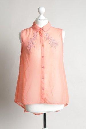 Apricot farbene Bluse mit Blumen NEU