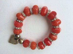 *Apricot* Funkelndes Armband mit Herzanhänger, große Steine in Apricot