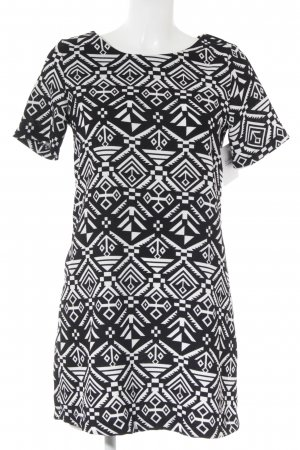 Apricot Shortsleeve Dress black-white graphic pattern retro look
