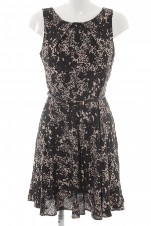 Apricot Minikleid schwarz-beige Blumenmuster Casual-Look