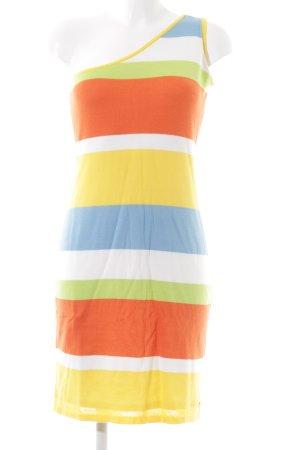 Apricot One-Shoulder-Kleid Streifenmuster schlichter Stil