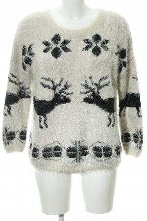 Apricot Kraagloze sweater room-zwart abstract patroon casual uitstraling