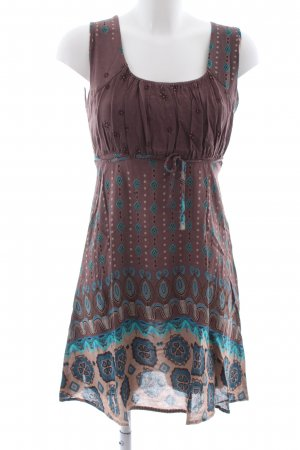 Apricot Off-The-Shoulder Dress brown-blue abstract pattern casual look